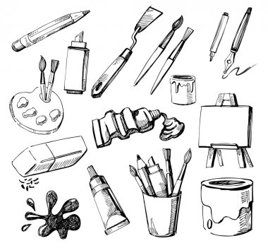 Set of Hand Drawn Artist's Stuff clip art vector