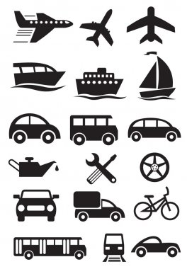 Transportation icons. Vector set