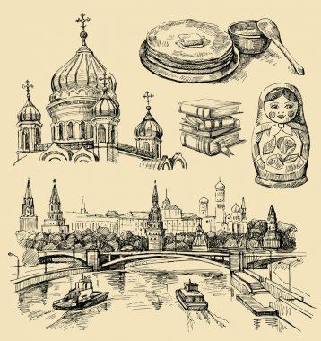 Set of Russia hand-drawn icons