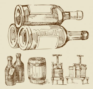 Wine-original hand drawn collection