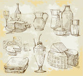 Fotografia prodotti lattiero-caseari vector set