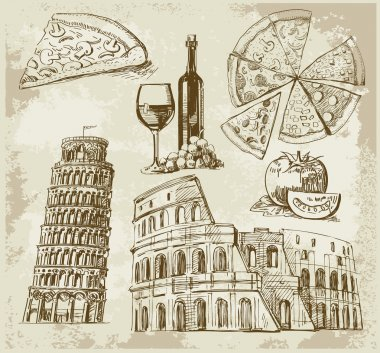 Hand drawn Rome set