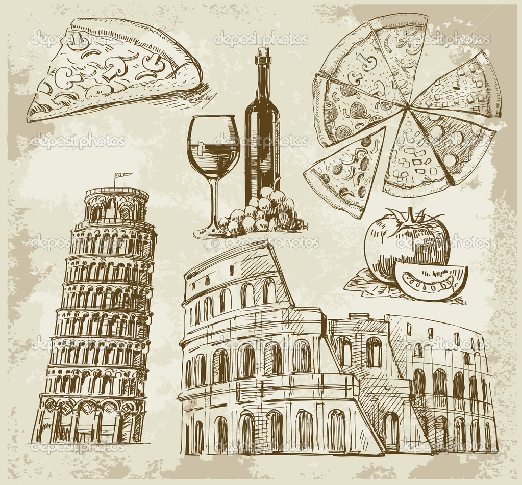 Hand drawn Rome set