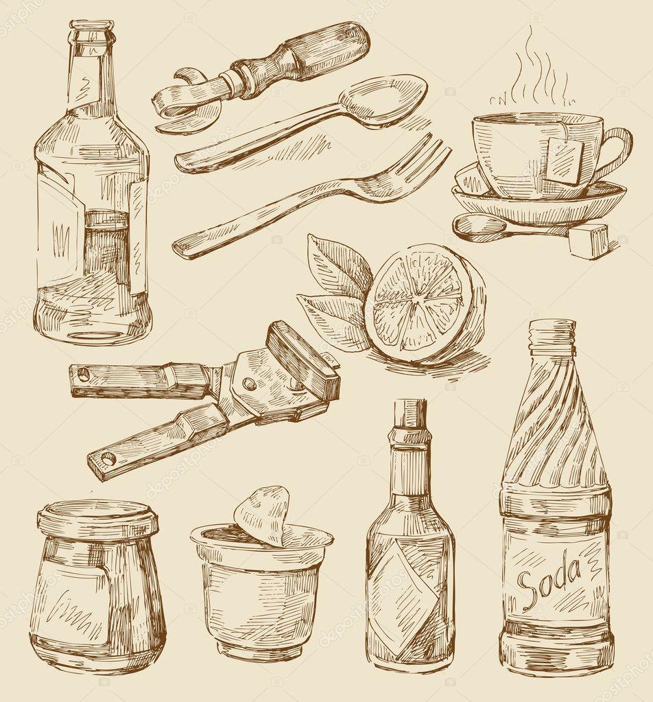 Hand Drawn Kitchen Set Stock Vector Bioraven 9883401