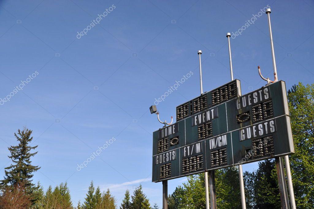 Score board at football stadium