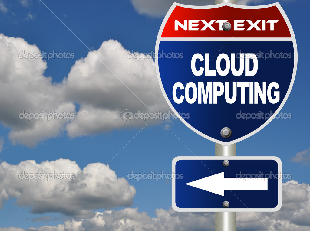 Cloud computing road sign