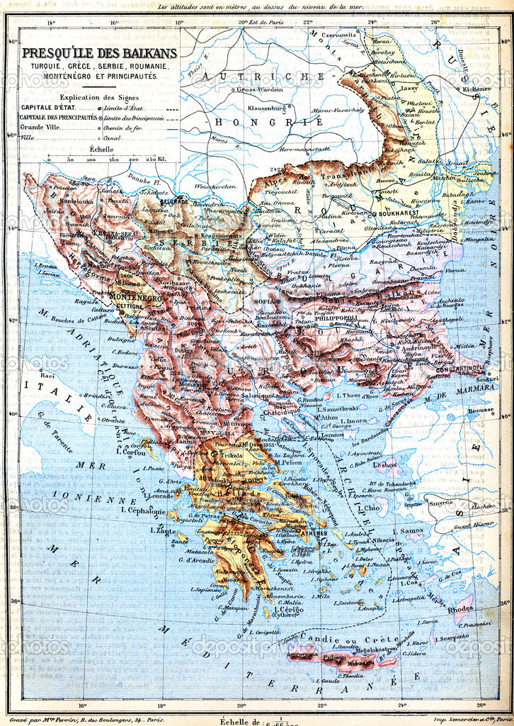 The map of Balkan Peninsula (Turkey, Greece, Serbia, Romania and ...