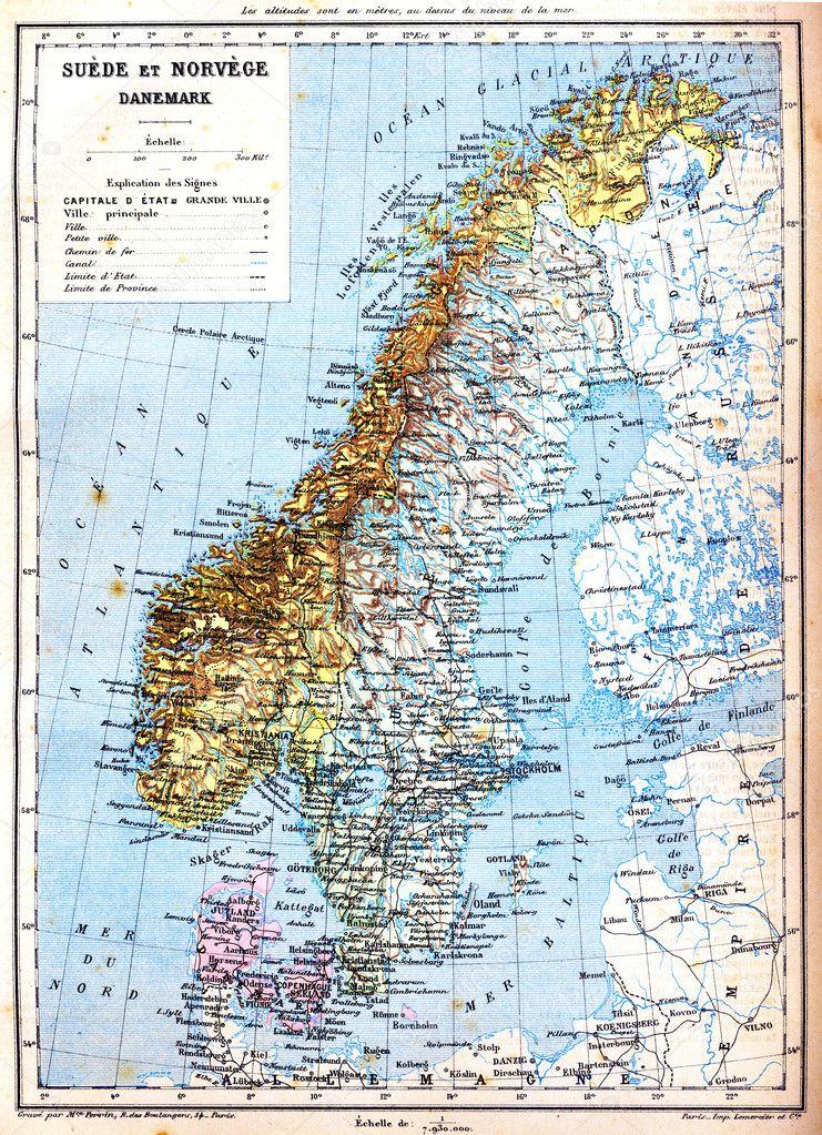 Karte Norwegen Dänemark.Die Karte Von Schweden Norwegen Und Dänemark Stockfoto Morphart