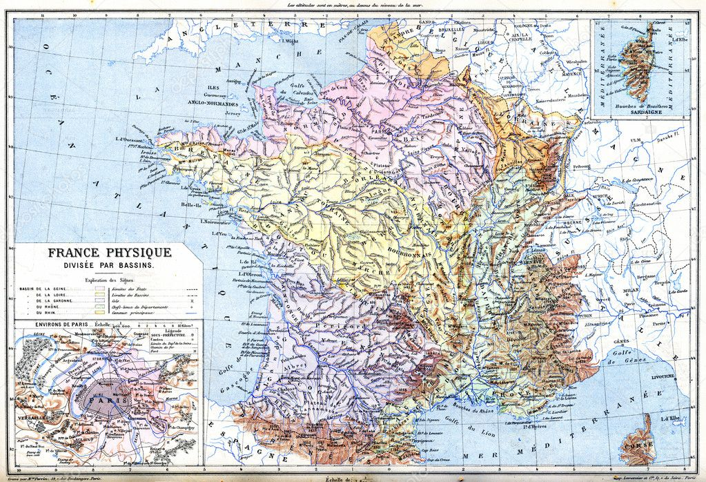The Map- France physical (France - Divided into Basins) — Stockfoto ...