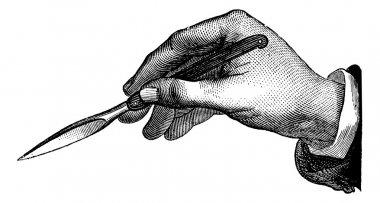 Position du bistouri dans l'incision simple de dedans en dehors,