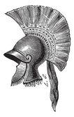 Fotografie Greek helmet criniere de cheval vintage engraving