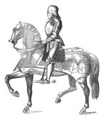 Fotografie Chevalier on the horse vintage engraving