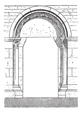 The gate of Beaune vintage engraving