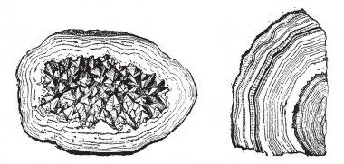 Quartz Geode and Agate vintage engraving