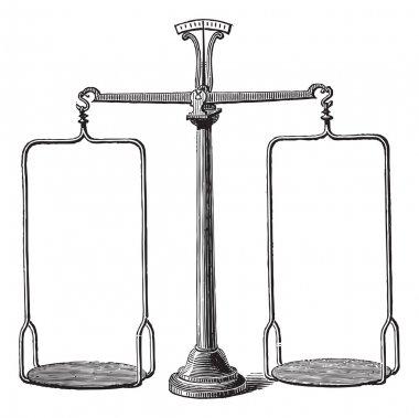 Balance scale vintage engraving