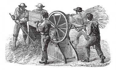 Five using threshing machine also known as thrashing mac