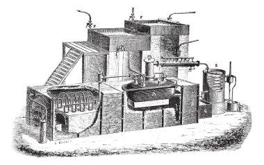 Old engraved illustration of Dutch type water distillation apparatus. Industrial encyclopedia E.-O. Lami - 1875. stock vector