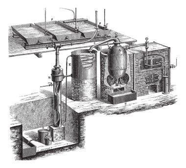 Old engraved illustration of Vacuum distillation for water apparatus. Industrial encyclopedia E.-O. Lami - 1875. stock vector