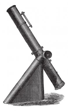 Fig. 4. - Reflecting telescope or reflective, vintage engraving.