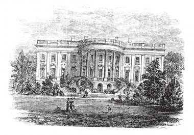 White house in Washington, D.C America vintage engraving.