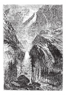 Yosemite Falls in Sierra Nevada California United States vintage
