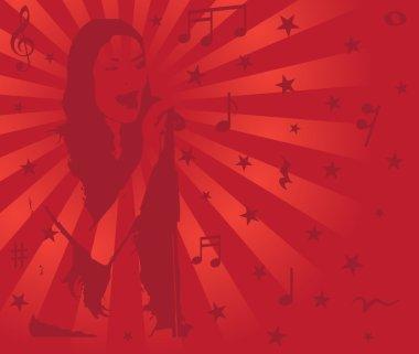 Singing girl, vector illustration, musical background