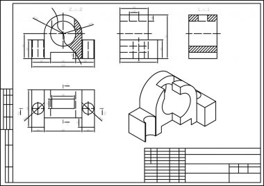 Drawing of some machine part, autocad, vector