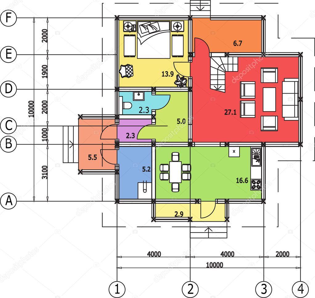 Dessin d 39 architecture de maison autocad vecteur image for Plan de maison avec autocad