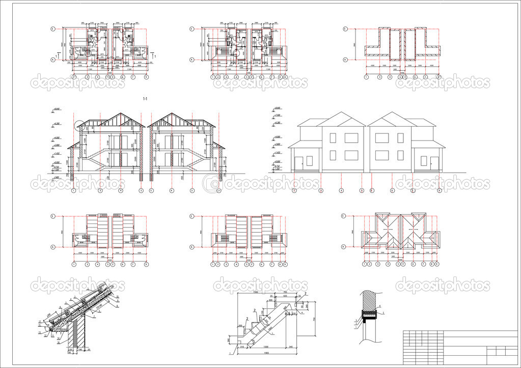 Architectural Drawing Font architectural drawing of a house, autocad, vector — stock vector