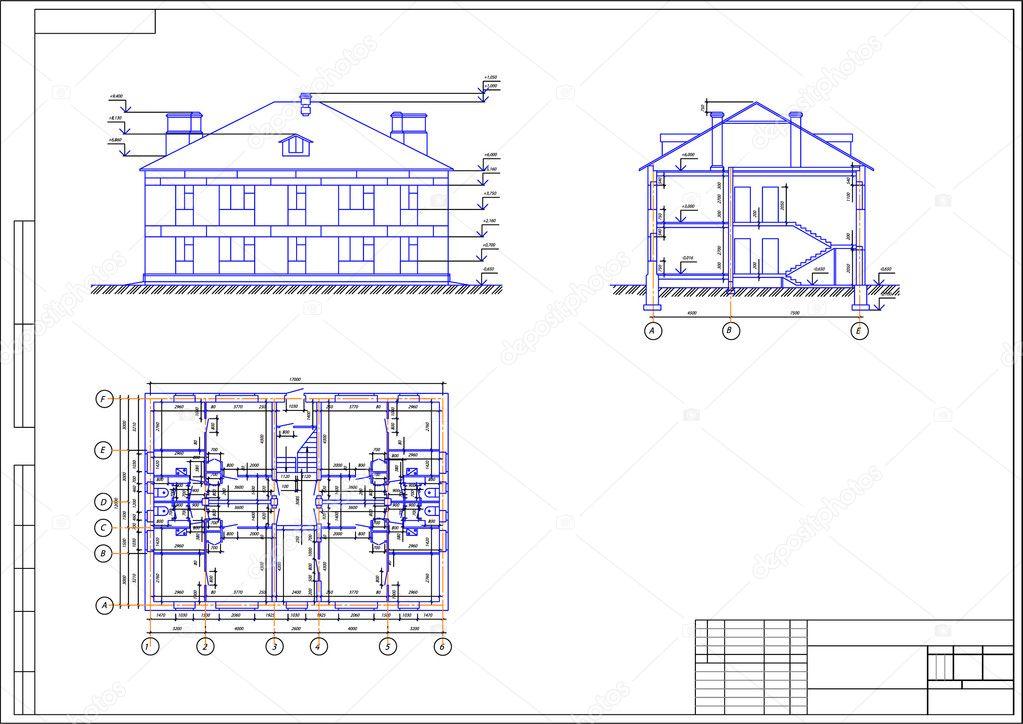 Disegno architettonico di una casa autocad vector for 4 piani di casa ranch di box auto
