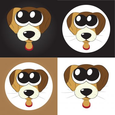 Set of cartoon puppies (dogs) with big eyes, vector