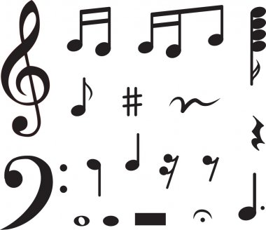 Icon set of musical notes. vector illustration stock vector