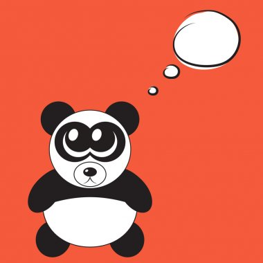 Cute cartoon panda with big eyes, vector illustration