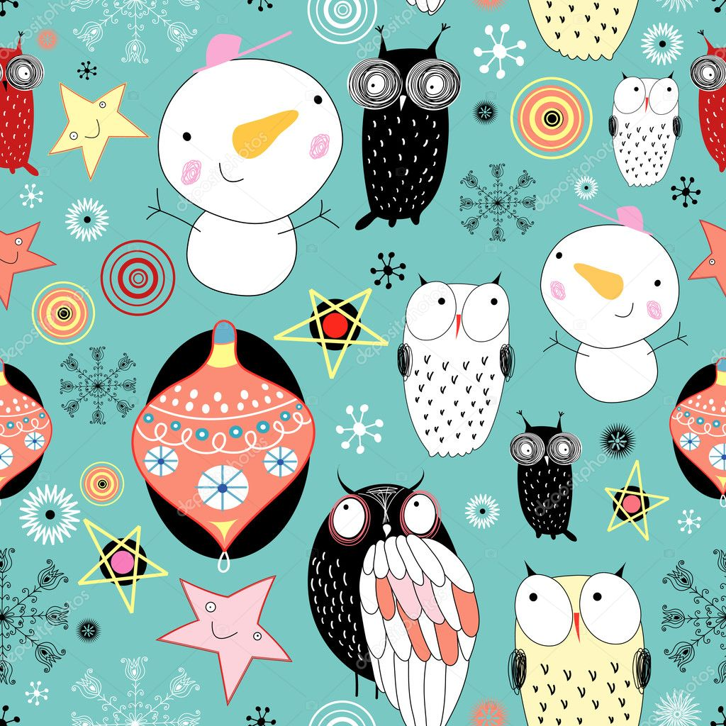 Texture with snowmen and owls