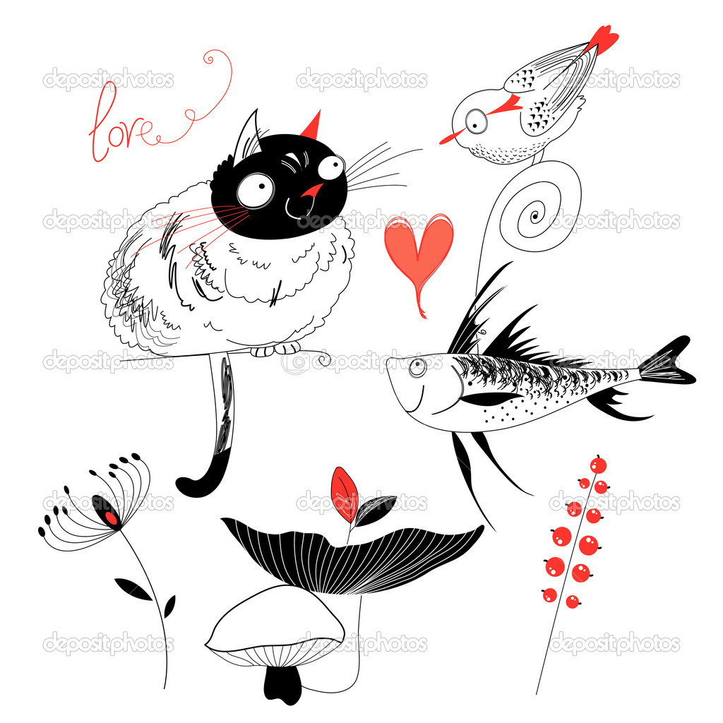 Love the cat with the fish and bird
