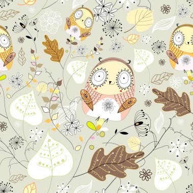 Pattern of leaves and owls