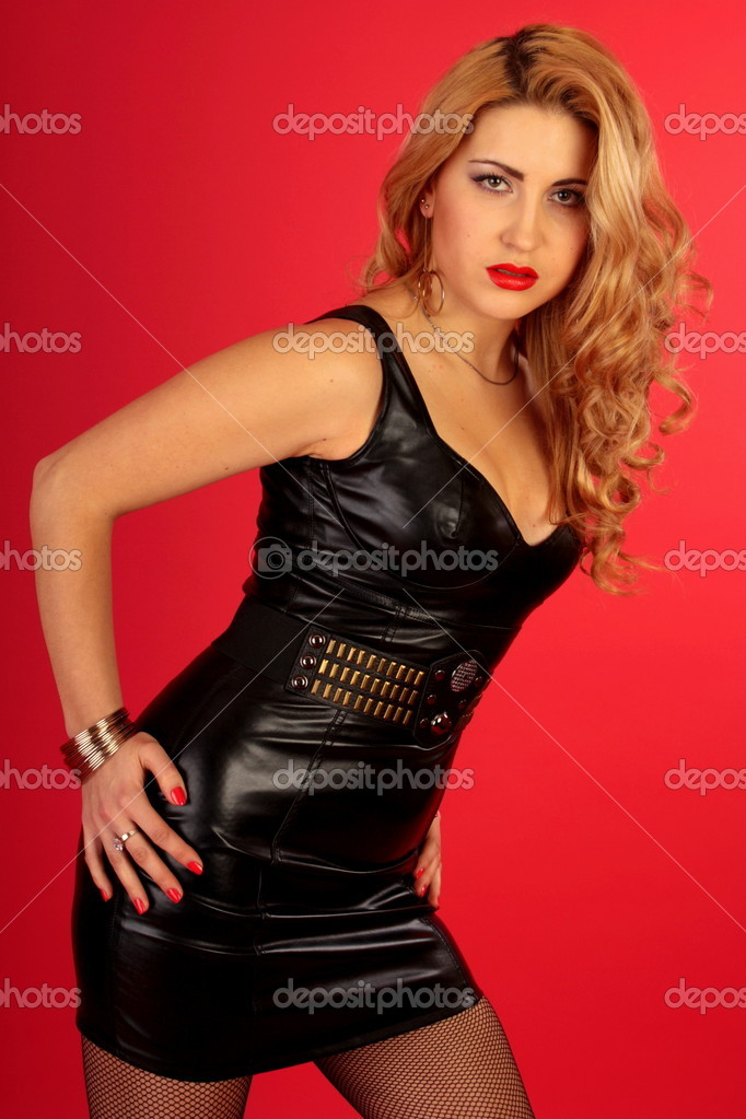 Saxy girl on red background