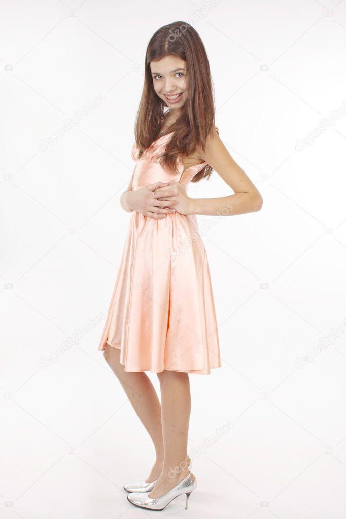 c87eb02d37e6ff mooie tiener meisje in roze jurk — Stockfoto © SophiDante  9705945