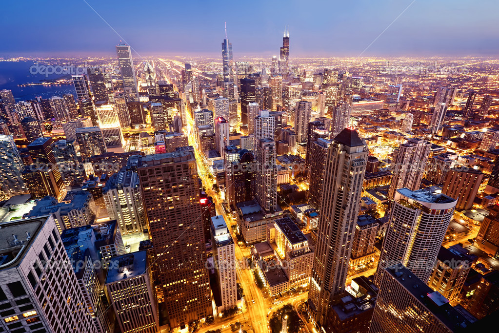 Фотообои Aerial view of Chicago downtown