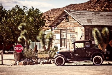 Gas station on the famous route 66 road in USA