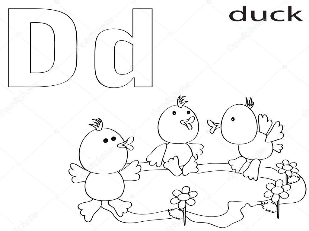 alfabeto para colorear para niños, d — Foto de stock © Olaj775 #8741637