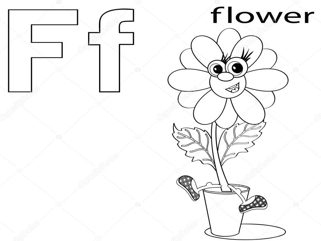 alfabeto para colorear para niños f — Fotos de Stock © Olaj775 #8741655