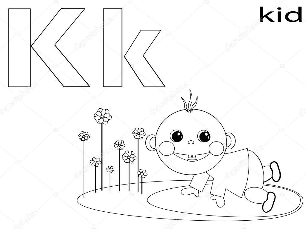 colorear alfabeto para niños, k — Foto de stock © Olaj775 #8741781