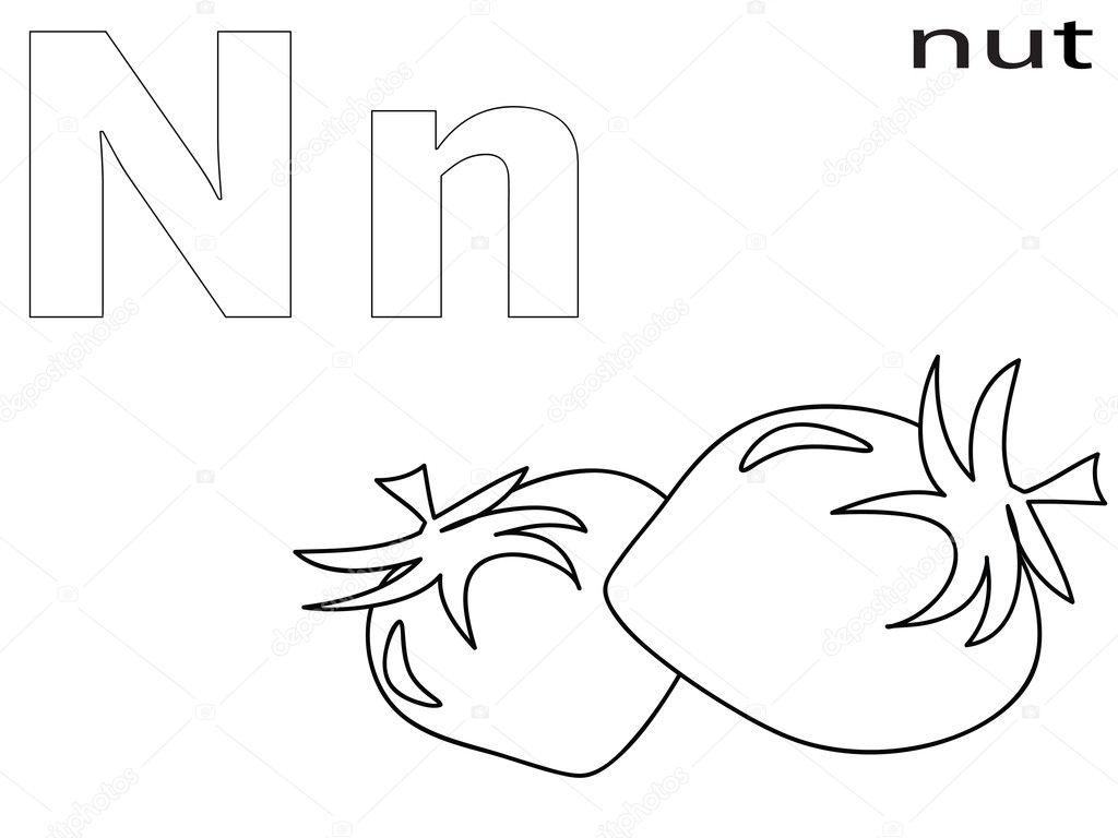 alfabeto para colorear para niños, n — Foto de stock © Olaj775 #8741884