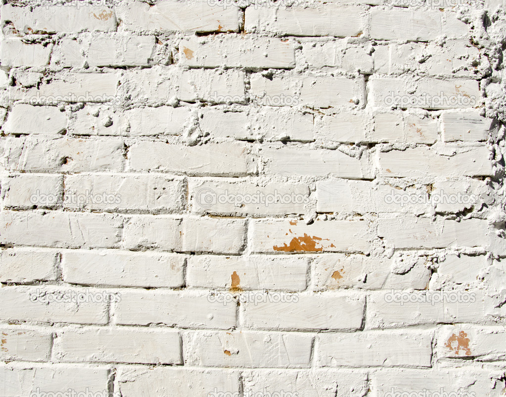 Background Red Brick Wall Painted White Paint Stock