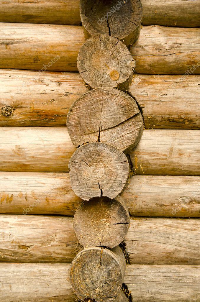 Maison en bois rond en bois d 39 arbre tronc mur closeup - Maison en tronc d arbre ...
