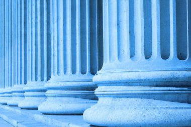 Neoclassical columns blue