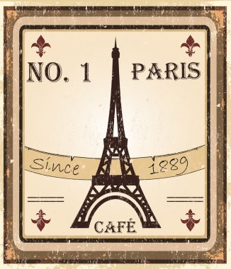 Grungy parisian coffee background. Graphics are grouped and in several laye