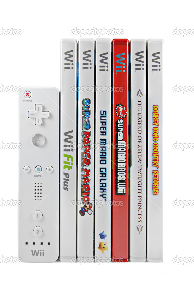 nintendo wii games and controller stock editorial photo