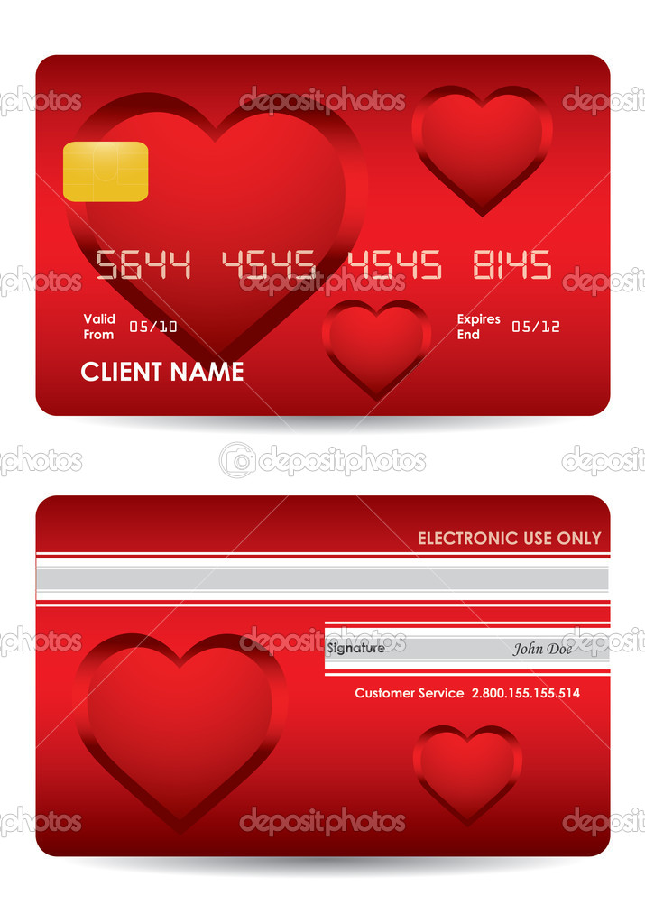 Special red credit card with valentine